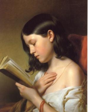 Franz_Eybl,_Lesendes_Mädchen