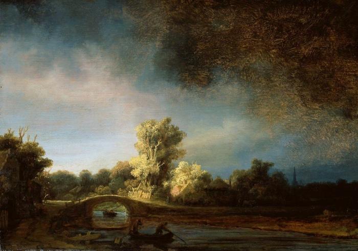 Rijn-van-Rembrandt-Landscpae-with-bridge-Sun