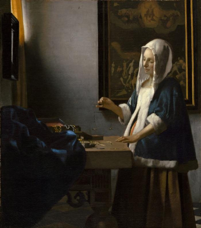 Johannes Vermeer - Woman Holding a Balance small