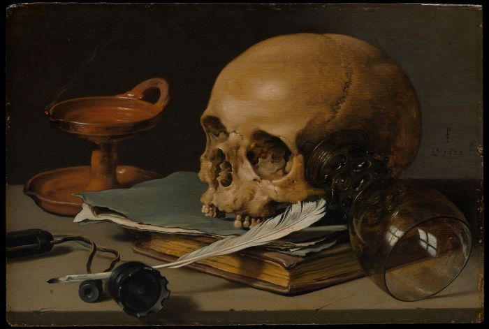Pieter_Claesz - Still Life with a Skull and a Writing Quill