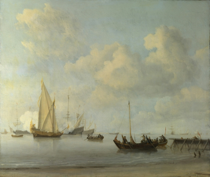 Willem Van De Velde – Boats pulling out to a Yacht in a Calm